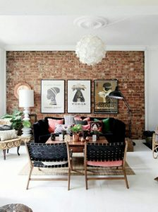 Warm textures are featured across the room.
