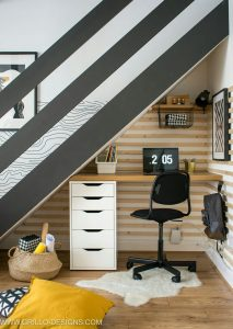 Office space under staircase.